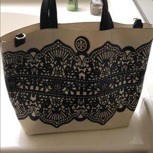 Tory Burch cream and black purse